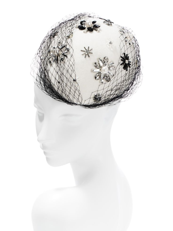 Siberia, literally a sparkle snow storm  -winter white velour felt  -Swarovski and glass beadwork -acetate veil -elastic fit #SpringRacing #AutumnRacing #RacingCarnival