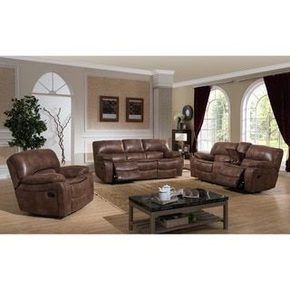 Leighton Three (3) Piece Transitional Reclining Sofa, Loveseat With Storage Console and Glider Reclining Chair