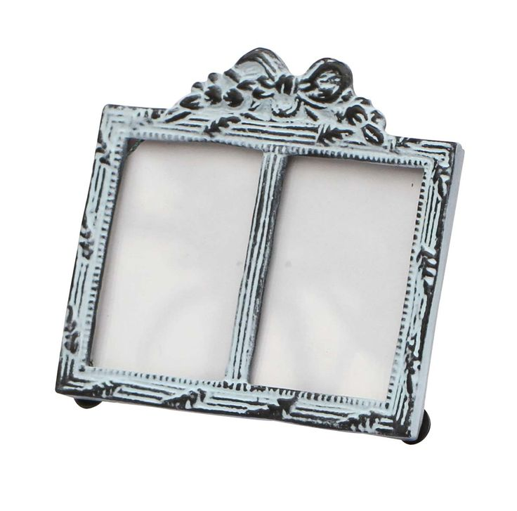Bulk Wholesale Handmade Double Photo Frame / Picture Stand in Metal Work Decorated with a Bow Design on the Top in Light Blue Color with Distressed-Look – Table / Wall Décor – Rustic-Look Home Décor