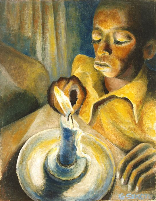 Boy and the Candle, 1943, Gerard Sekoto. South African (1913 - 1993)    National Museum of African Art