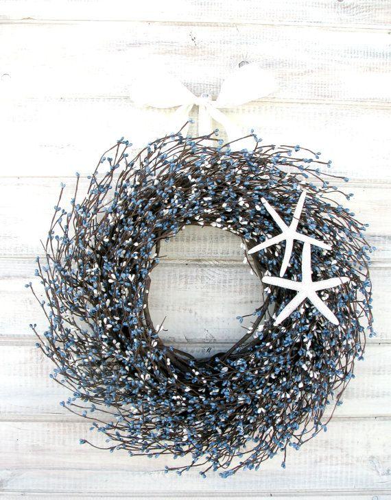 COASTAL STAR FISH Wreath-Blue & White Berry Wreath-Spring Door Wreath-Summer Door Wreath-Scented Cinnamon Vanilla-Choose Scent and Ribbon