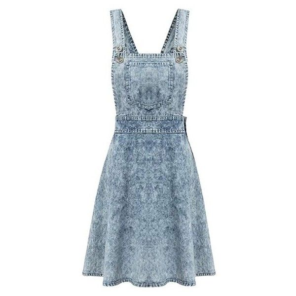 Stone Washed Denim Dungaree Mini Dress ($24) ❤ liked on Polyvore featuring dresses, vestidos, blue, short dresses, blue dress, strap dress, mini dress and dungaree dress