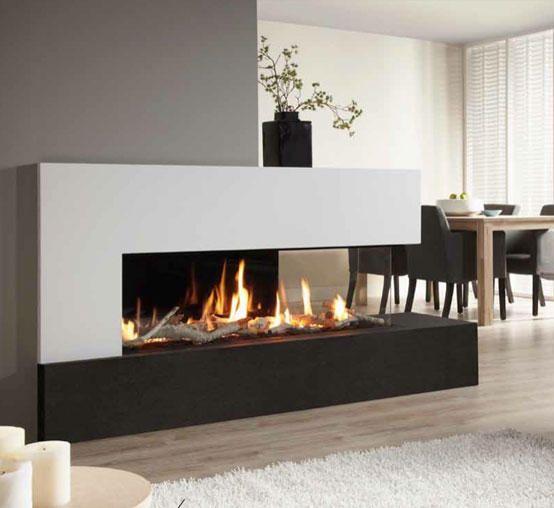 Modern fireplace, b&w