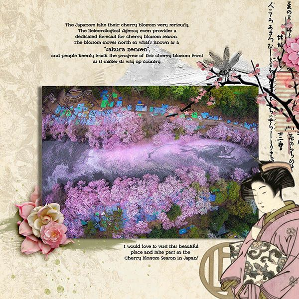 I used the fab new kit from our guest designers Viva Artistry https://www.oscraps.com/shop/Sakura.html  I have always wanted to see the Cherry Blossoms in Japan. Hopefully one day I will get there!