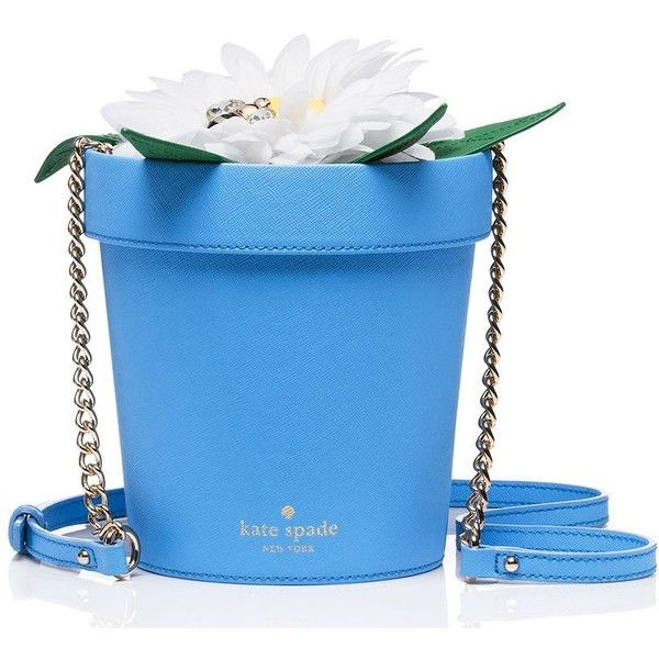 Kate Spade Down The Rabbit Hole Daisy Flowerpot ($328) ❤ liked on Polyvore featuring bags, handbags, shoulder bags, cross body, daisy handbag, kate spade handbag, crossbody shoulder bags, kate spade and blue purse