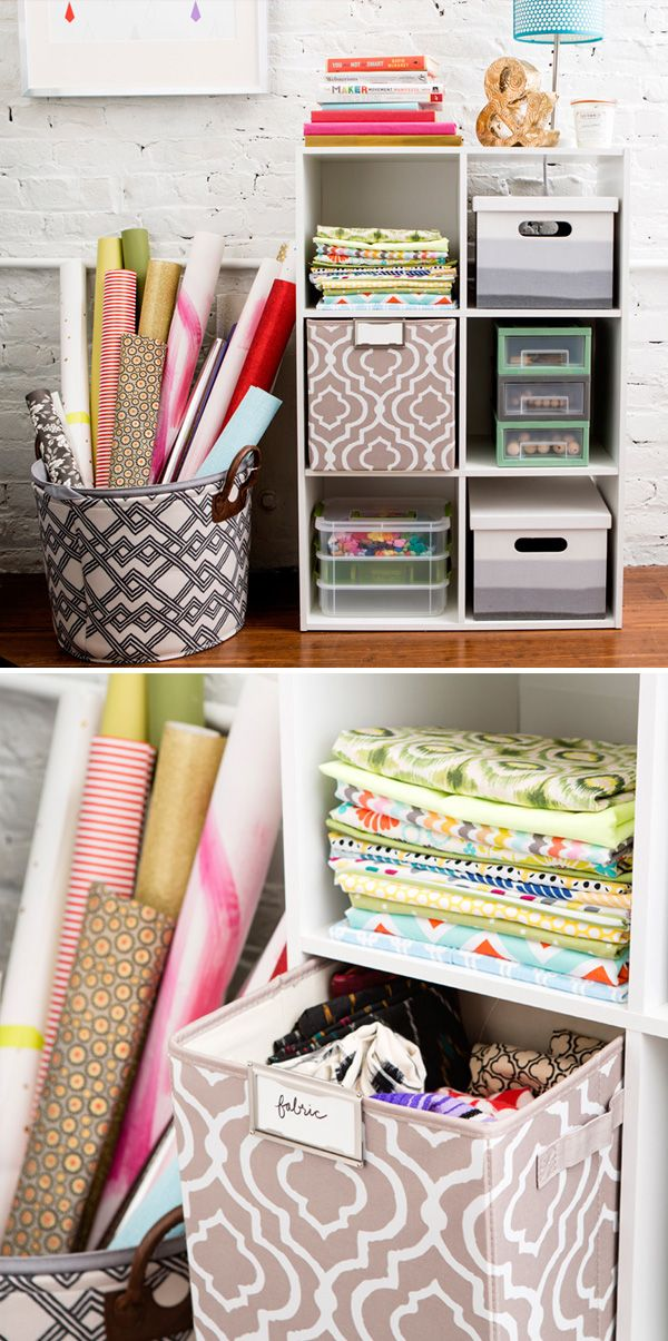 Start with this 6-cube organizer, and then use colored and patterned fabric cubes, along with storage bins from #Target as a creative way on how to store and organize your fabric and craft items.