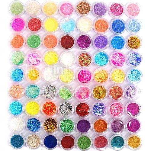 72 colores brillo de uñas de arte la decoración de la combinación