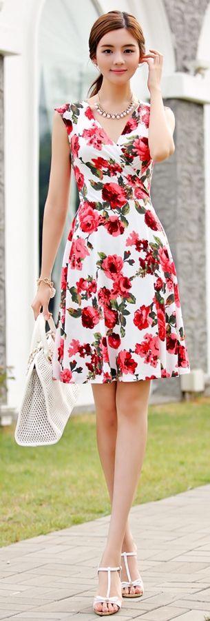 vestido coreano floreado