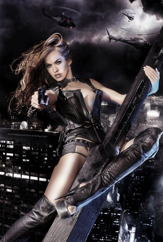 Megan Fox - Leather and Guns by ~SilentArmageddon on deviantART