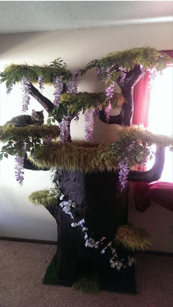 cat tree with wisteria and fake fur From Random pictures of the day: no source given. The kitties can shred the flowers/greenery and the carpeting. Would like to be able to repair without dismantling. Close up pic shows tree shape is rather blocky so not difficult, and canopies are flats with very plush long pile carpet or fur that may be hard to source.