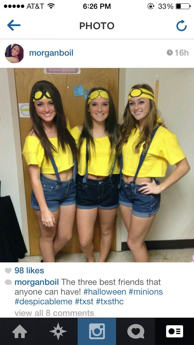 These minion costumes are cute but maybe jeans instead since it will get cold.