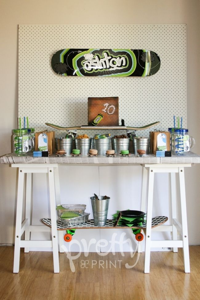 boy's skateboard birthday party dessert table www.spaceshipsandlaserbeams.com