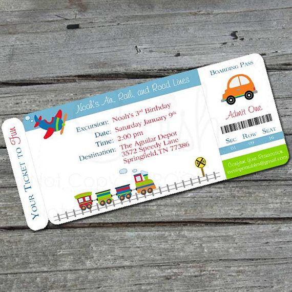 Transportation Birthday Invitation Boarding by SwishPrintables