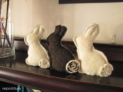 cashmere chocolate bunnies for easter, crafts, easter decorations, repurposing upcycling, seasonal holiday decor