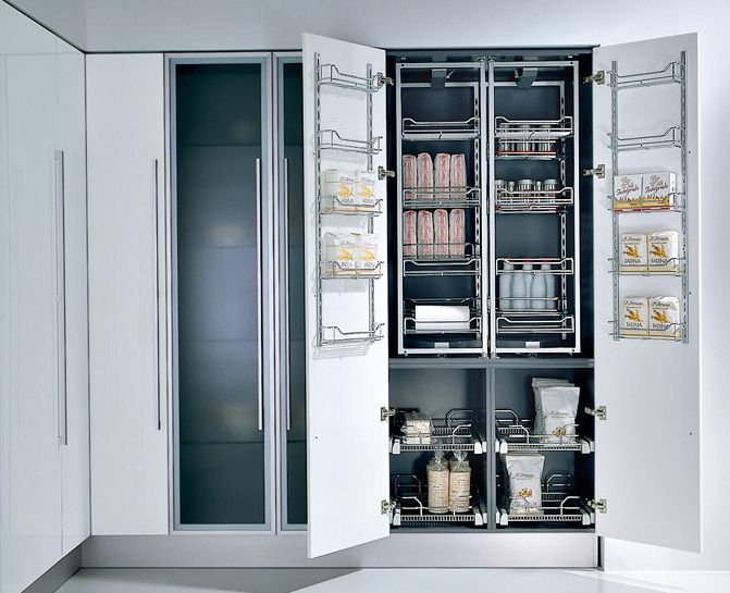 This is great for short people like me. I can look up at the top shelf and see the objects from underneath!  Chef's pantry pullout system in chrome, by Pedini.