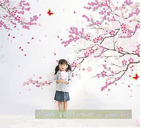 Fleur de cerisier arbre muraux avec papillon wall par Isabeljia, $28.00