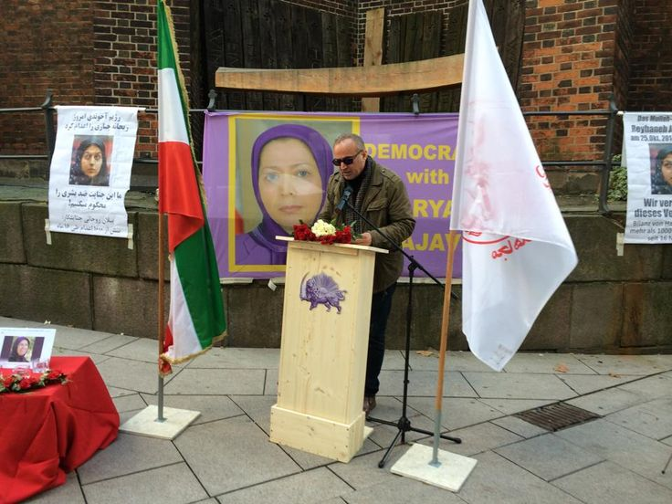 November 2014-Iranians in Hamburg protest and talk about the executions  and the acid attacks on the Iranian women