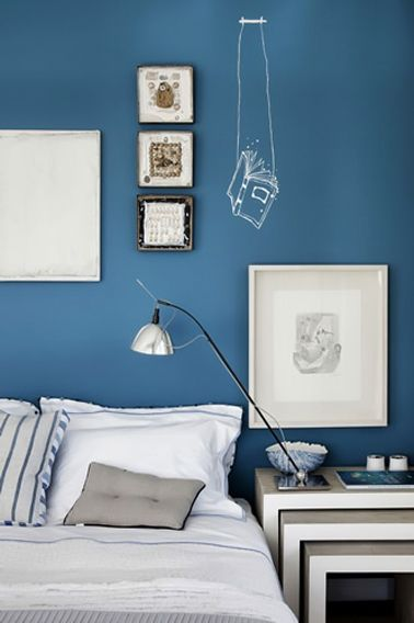 Chambre bleu gris peinture bleu cyclade
