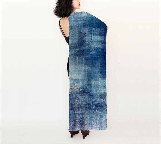 """Long Scarf (16"""" x 72"""") """"Icy Blue"""" by Melanie Viola"""