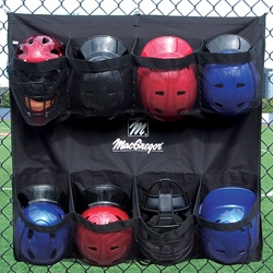 MacGregor Helmet Hanging Bag (8). Heavy-duty 600 Denier polyester * Hangs on chain link fence or dugout * Oversized pockets to accommodate 8 helmets with attached mask * Mesh pockets forclear viewing of helmets * Conveniently rolls up for easy storage and handling * Black only