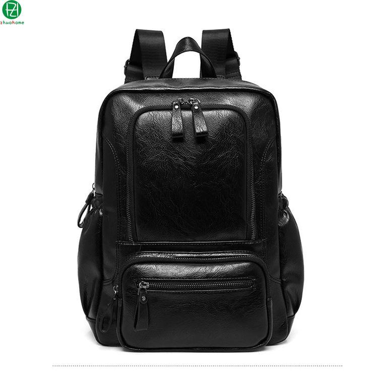 high quality vintage leather man backpacks mochila Laptop school bags men travel luggage bag black men shoulder crossbody bags