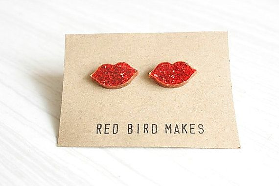 Kiss Me Quick  Ruby Red Glitter Lips Earrings by RedBirdMakes, $19.50
