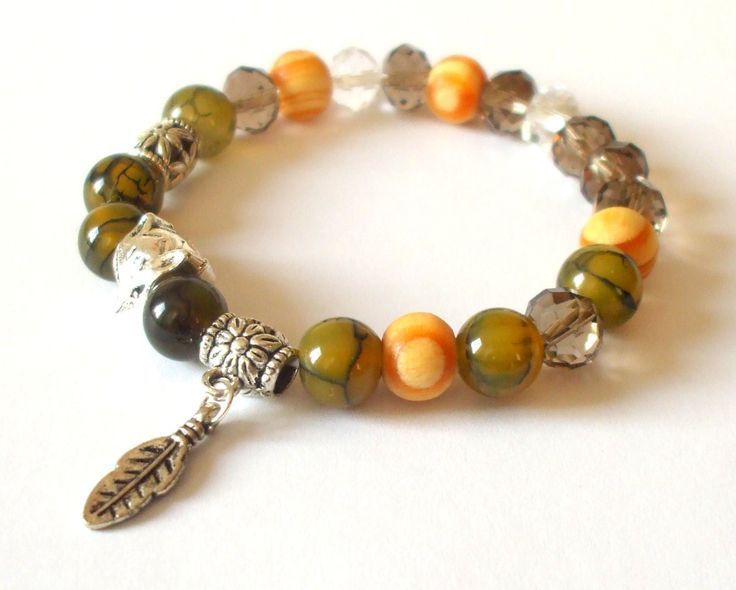 Dragon veins agate bracelet Semi-precious stone jewel Mineral bracelet Green gemstone with fox and leaves Gift for her Individual Handmade by dorijewelnook on Etsy