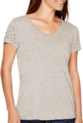 LIZ CLAIBORNE Liz Claiborne Short-Sleeve Embellished T-Shirt - Petite - Shop for women's T-shirt - Soft Gray Heather T-shirt