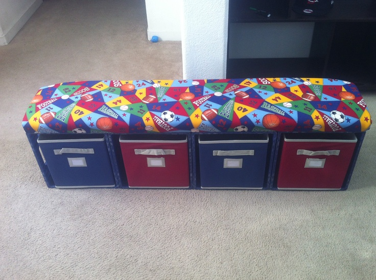My DIY milk crate bench for lil mans room.