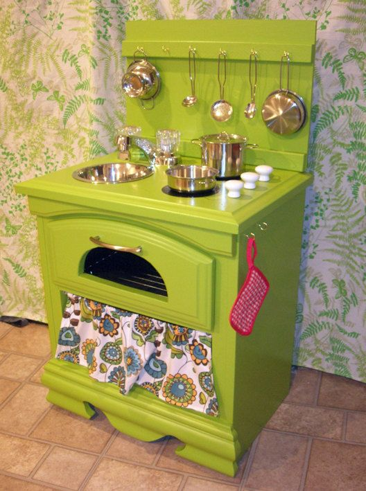 "What a great idea. Up-cycled night stand. ""Custom Play Kitchen Handmade Pretend Toy for by TheCuckooClocks, $269.00"""