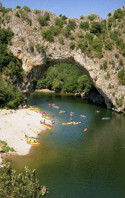 The famous natural bridge crossing the river Ardeche near Vallon Pont d'Arc, France