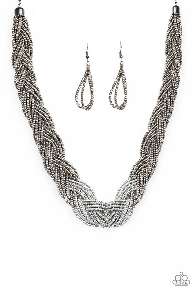 Brazilian Brilliance Seed Bead Necklace Paparazzi- Silver