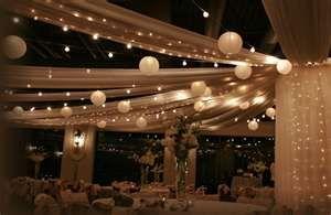 ceiling --tulle, lights and lanternsOutdoor Wedding, Twinkle Lights, Paper Lanterns, Ceilings Lights, Chinese Lanterns, String Lights, Wedding Lights, Lights Ideas, Chine Lanterns