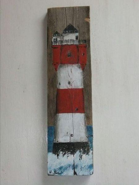 Acrylmalerei - Leuchtturm´´Roter Sand´´auf Holz, Acrylbild - ein Designerstück von Palettes-Bilder-Shop bei DaWanda