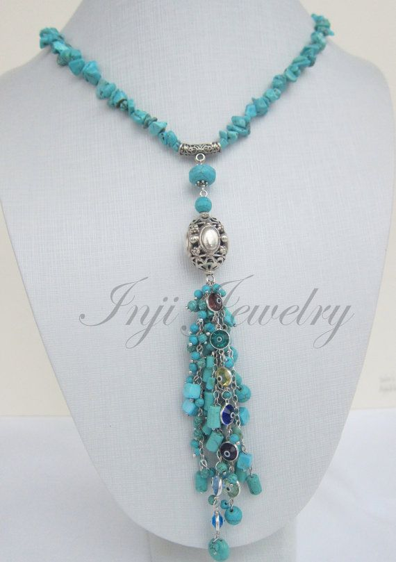 Elegant Dangly Turquoise Tassel with Howlite and Evil Eye by INJIJEWELRY on Etsy