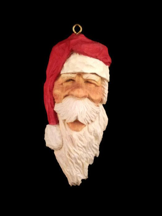 Hand carved santa wood carving unique gift for her