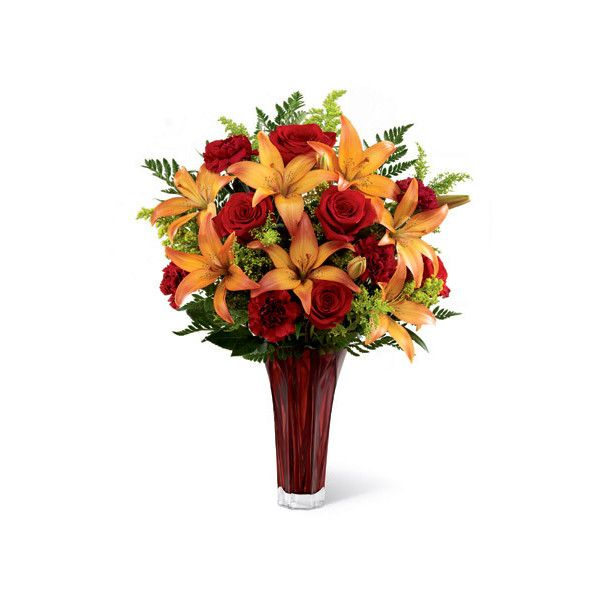 Seasonal Splendor Bouquet ($48) ❤ liked on Polyvore featuring home, home decor, floral decor, red rose, rose, lily flower bouquet, autumn home decor, rose bouquet, fall home decor and red rose bouquet