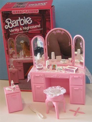 Vintage Barbie Sweet Roses Bedroom Vanity/Mirror/Bench, and Nightstand