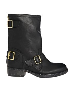 Dune Riffy Leather Mid Calf Biker Boots