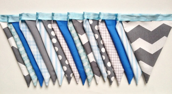 Blue and Gray Fabric Pennant Banner. Stripes, Dots, Plaid and Chevron. Light Blue and Light Gray Bunting. Fabric Garland. Sweet October, via Etsy.