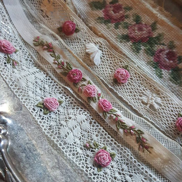 """93 Likes, 15 Comments - Madame Hollyhock (@madame_hollyhock) on Instagram: """"I'm embroidering vintage lace and ribbons to be used in a print and some bookmarks.. one of my…"""""""