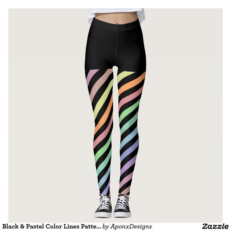 Black & Pastel Color Lines Pattern