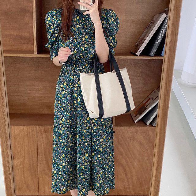 ロングワンピース ドレス ワンピース aライン 花柄 カジュアル シンプル グリーン パープル フリー 2 205 ワンピース ドレス ロング ワンピース ファッションアイデア