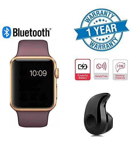Twogood Apple Compatible Golden A1 Bluetooth SmartWatch With WhatsApp Facebook Twitter Pedometer Remote Camera SIM Card & Sleep Monitoring Support With Ultra Small S530 Bluetooth 4.0 Headset (1 Year Warranty)