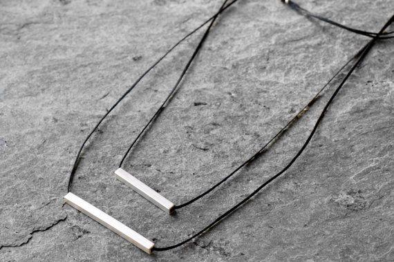 Geometrische Halskette, asymmetrische Bars Halskette minimalistisch Halskette, geometrische Halskette, Sterling Silber Halskette, moderne Halskette
