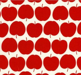 De stof appel rood is een super stof met een print van rode appels op een witte…