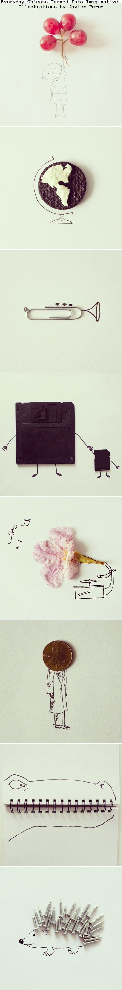 Everyday Objects Turned Into Imaginative Illustrations by Javier Pérez. // :)