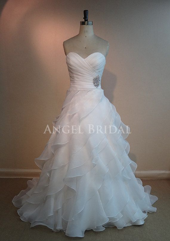 Ruffles Wedding Dresses, Ivory Organza Wedding dress, Wedding gowns, Bridal Dresses on Etsy, $259.00