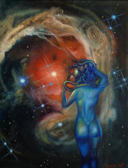 An oil painting of a  blue alien woman, of sorts, standing nude infont of a galaxy. Done by artist Bonny Hut.