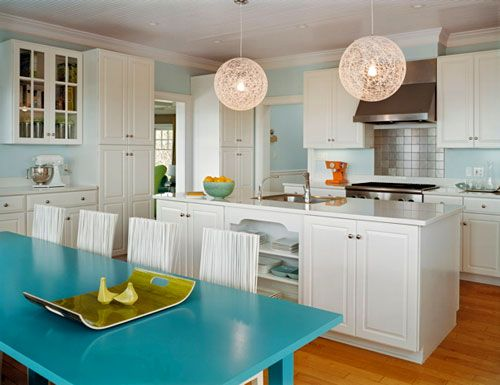 Kitchen with string globe lamps